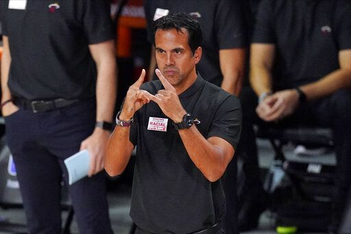 Miami Heat head coach Erik Spoelstra directs his team during the first half in Game 6 of basketball's NBA Finals against the Los Angeles Lakers Sunday, Oct. 11, 2020, in Lake Buena Vista, Fla.
