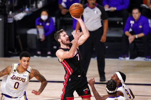Miami Heat's Goran Dragic (7) shoots during the second half in Game 6 of basketball's NBA Finals against the Los Angeles Lakers Sunday, Oct. 11, 2020, in Lake Buena Vista, Fla.