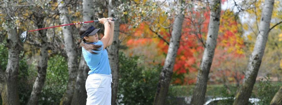 Marisa Lorario of Lake Park follows the flight of her drive on the fourth hole at the girls golf sectional at Arlington Lakes Golf Club in Arlington Heights on Tuesday.