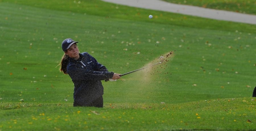 Kendall Farm of West Chicago chips out of the sand on the fourth hole at the girls golf sectional at Arlington Lakes Golf Club in Arlington Heights on Tuesday.