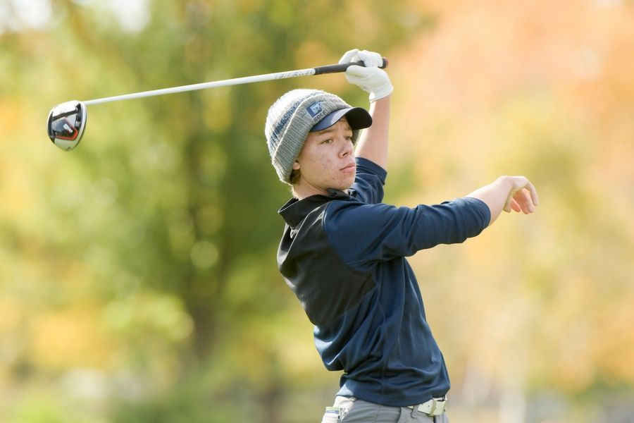 Downers Grove South's Matthew Frauendorff watches his drive from the 14th tee during the Boys Golf Class 3A Oswego Sectional at Blackberry Oaks Golf Course in Bristol Oct. 13.