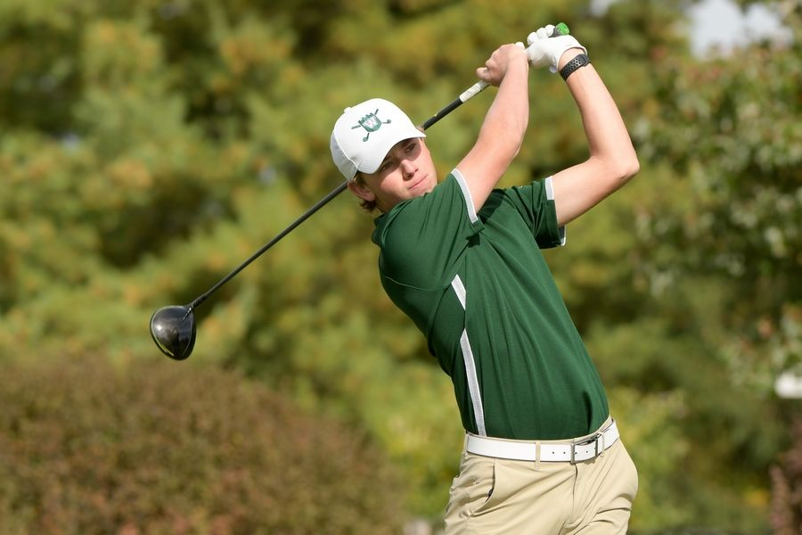 Glenbard West's Ryan Park watches his drive from the 14th tee during the Boys Golf Class 3A Oswego Sectional at Blackberry Oaks Golf Course in Bristol Oct. 13.