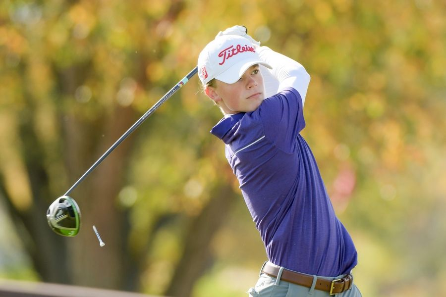 Downers Grove North's Matthew Kramer watches his drive from the 14th tee during the Boys Golf Class 3A Oswego Sectional at Blackberry Oaks Golf Course in Bristol Oct. 13.