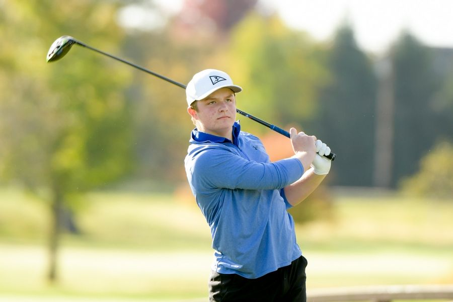 Geneva's Jesse Balc watches his drive from the 14th tee during the Boys Golf Class 3A Oswego Sectional at Blackberry Oaks Golf Course in Bristol Oct. 13.