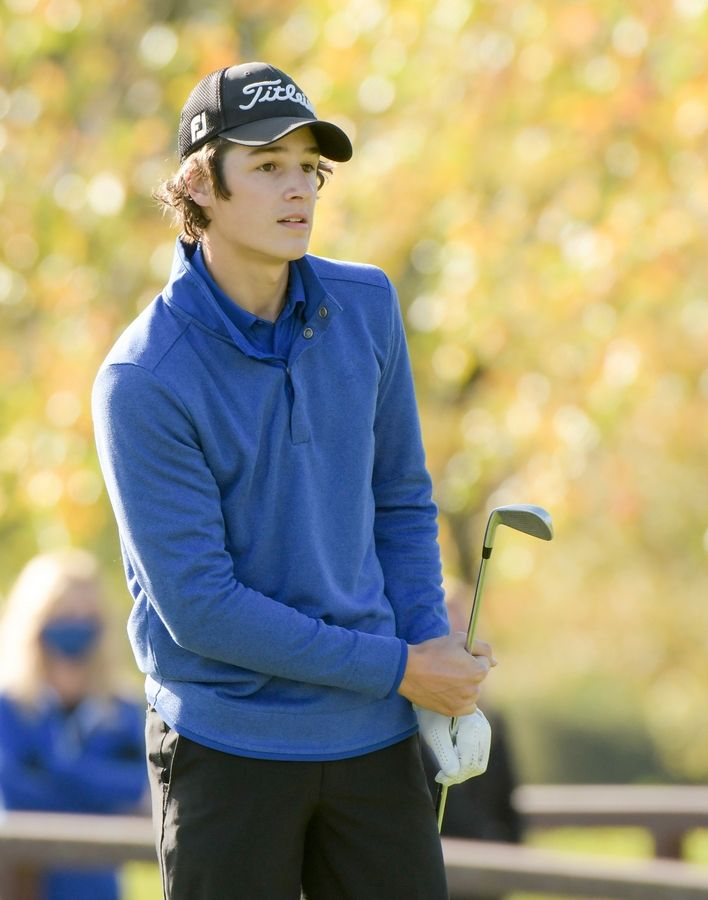 Geneva's Zach Padgett watches his drive from the 14th tee during the Boys Golf Class 3A Oswego Sectional at Blackberry Oaks Golf Course in Bristol Oct. 13.