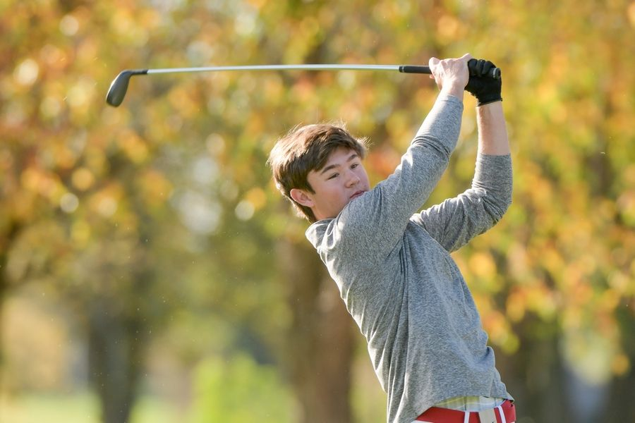 Hinsdale Central's Drew McMillin watches his drive from the 14th tee during the Boys Golf Class 3A Oswego Sectional at Blackberry Oaks Golf Course in Bristol Oct. 13.