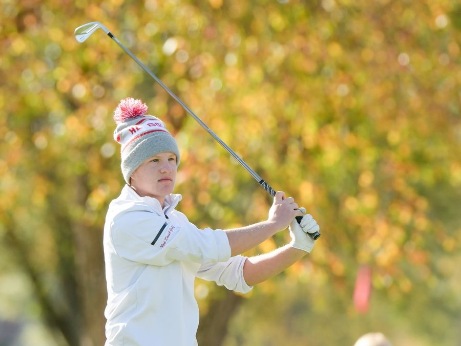 Hinsdale Central's Jack Inabnit watches his drive from the 14th tee during the Boys Golf Class 3A Oswego Sectional at Blackberry Oaks Golf Course in Bristol Oct. 13.