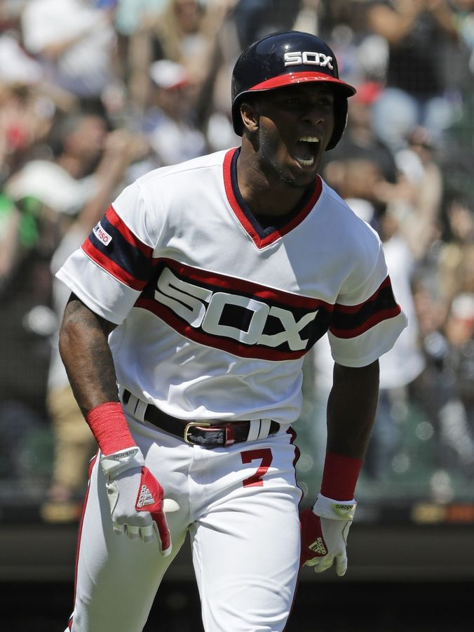 Chicago White Sox's Tim Anderson reacts as he rounds the bases after hitting a solo home run during the fourth inning of a baseball game against the Cleveland Indians in Chicago, Sunday, June 2, 2019.