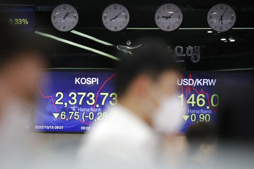 Currency traders watch computer monitors near screens showing the Korea Composite Stock Price Index (KOSPI), left, and the foreign exchange rate between U.S. dollar and South Korean won at the foreign exchange dealing room in Seoul, South Korea, Thursday, Oct. 15, 2020. Asian stocks followed Wall Street lower on Thursday as hopes U.S. leaders will agree on a new economic stimulus before the Nov. 3 presidential election faded.