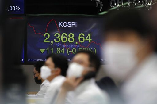 Currency traders watch computer monitors near a screen showing the Korea Composite Stock Price Index (KOSPI) at the foreign exchange dealing room in Seoul, South Korea, Thursday, Oct. 15, 2020. Asian stocks followed Wall Street lower on Thursday as hopes U.S. leaders will agree on a new economic stimulus before the Nov. 3 presidential election faded.