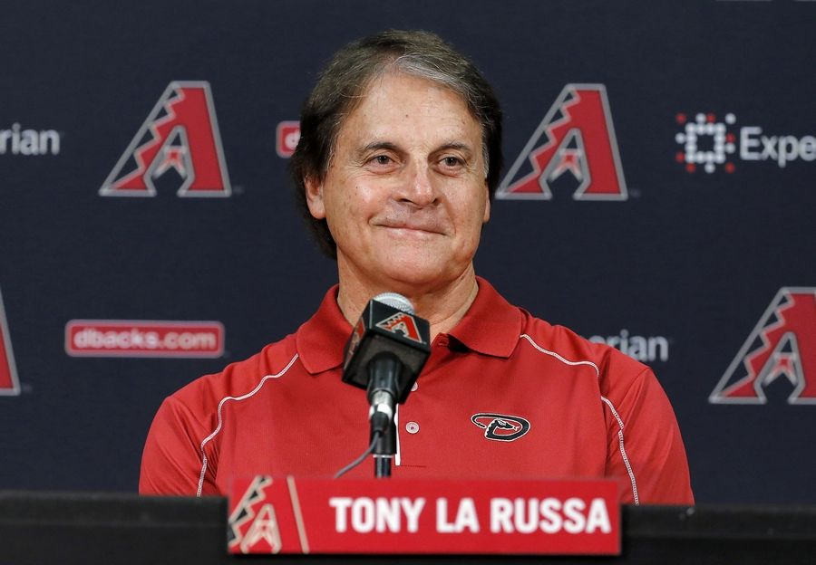 In this May 17, 2014, file photo, Tony La Russa, newly hired as chief baseball officer for the Arizona Diamondbacks, speaks to reporters after being introduced in Phoenix. The Los Angeles Angels granted the Chicago White Sox permission to interview Hall of Famer Tony La Russa for their managing job, a person familiar with the situation said Wednesday, Oct. 14, 2020. A three-time World Series-winning manager, the 76-year-old La Russa joined the Angels prior to this season as senior advisor of baseball operations.