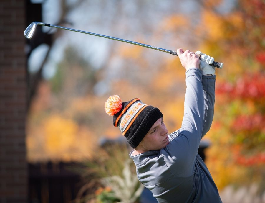 Hersey's Henry Quinn tees off of hole No. 1 in the Class 3A Rockford Sectional golf tournament on Thursday.