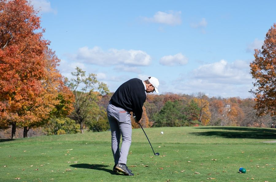 Prospect's Cole Lanert tees off of hole No. 1 in the Class 3A Rockford Sectional golf tournament on Thursday.