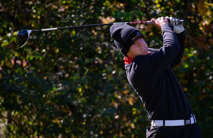Huntley's Josh Good tees off of hole No. 14 in the Class 3A Rockford Sectional golf tournament on Thursday.