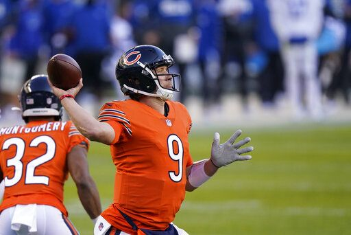 Chicago Bears quarterback Nick Foles throws a pass during the second half of the team's NFL football game against the Indianapolis Colts, Sunday, Oct. 4, 2020, in Chicago.