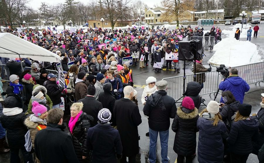 About 450 people showed up for a January women's march in Geneva. More women's marches will be held across the suburbs Saturday.