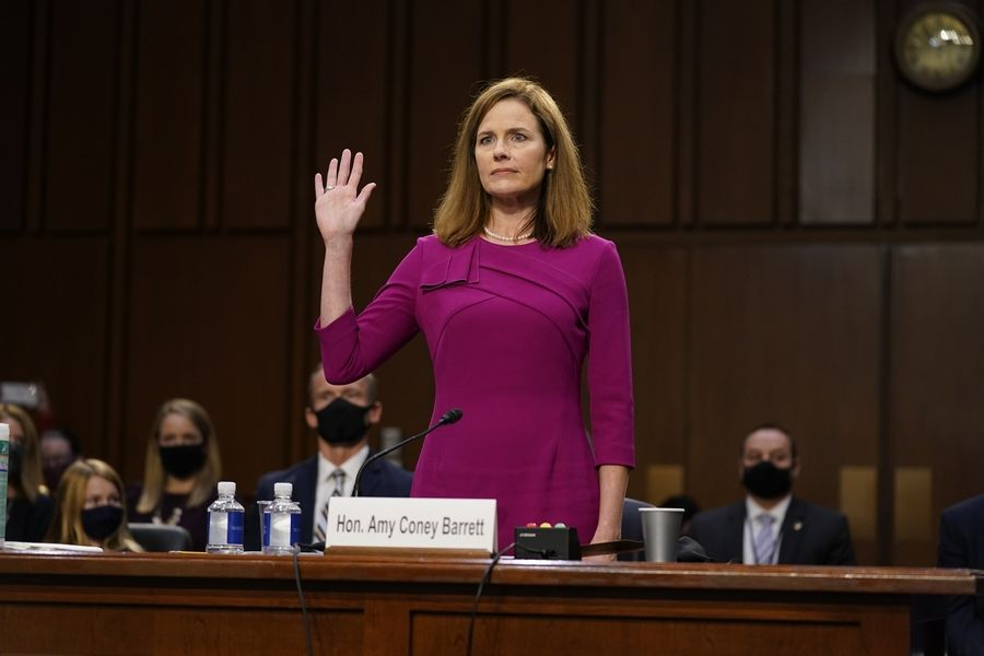 Supreme Court nominee Amy Coney Barrett is sworn in during a confirmation hearing last week before the Senate Judiciary Committee.