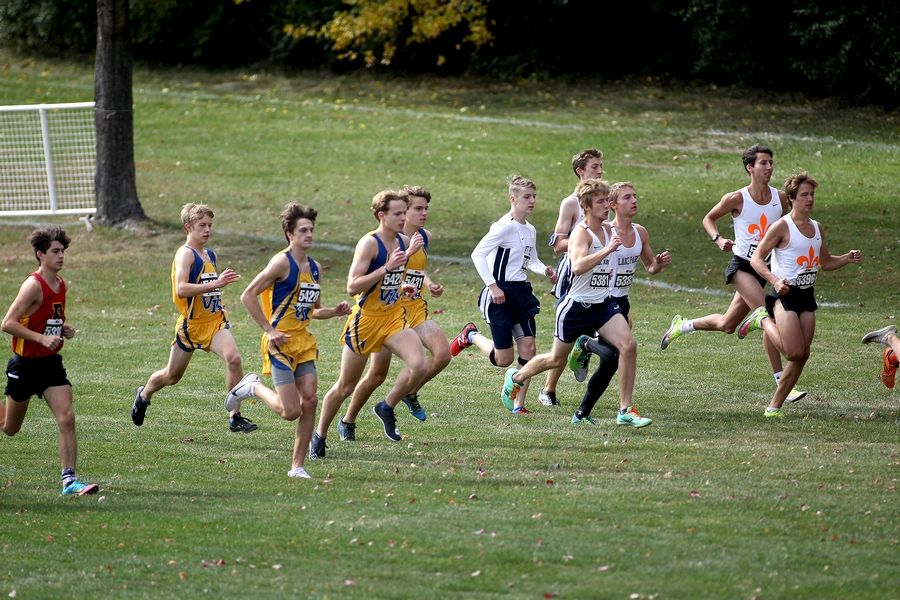 Runners take off at the start of the first of two races in the DuKane Conference boys cross country meet at Lake Park High School's East Campus on Oct. 17.
