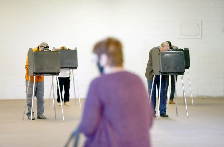 The DuPage County Fairgrounds was one of several suburban early voting sites open since Sept. 24, with dozens of other locations expected to be available starting Monday.