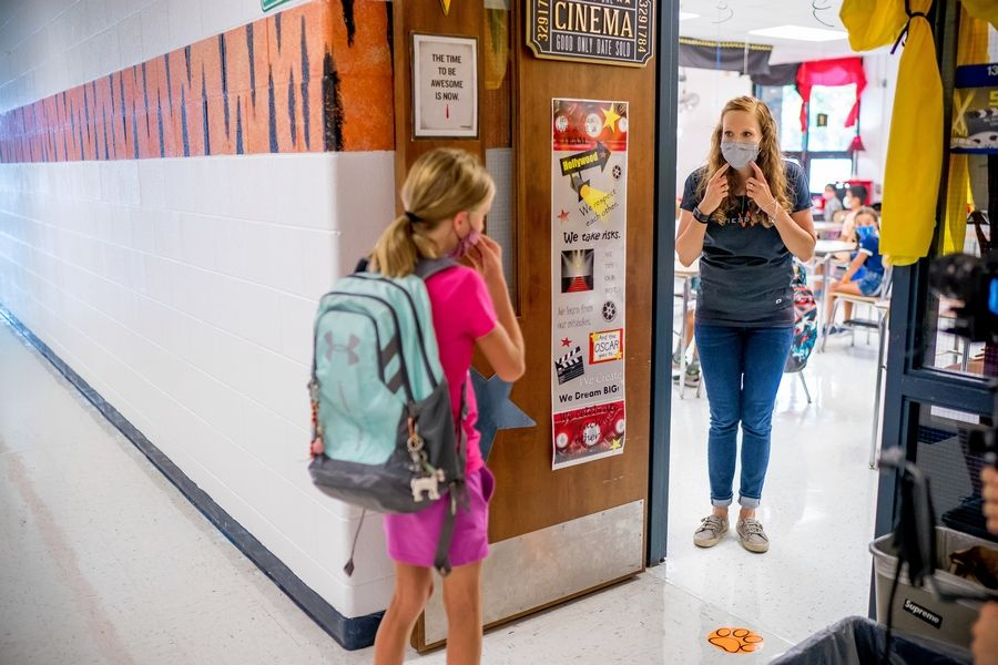 Courtesy of Wheaton Warrenville Unit District 200Teacher Katherine Kondak welcomed students back to Wiesbrook Elementary School in Wheaton last month.