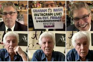 "Geoff Edgers and Graham Nash talk in Edgers' Instagram Live show ""Stuck with Geoff."""