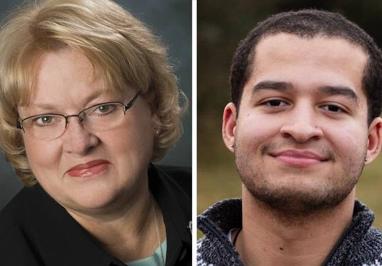Linda Pedersen and Chase Thomas are candidates for the Lake County Board District 1 seat.