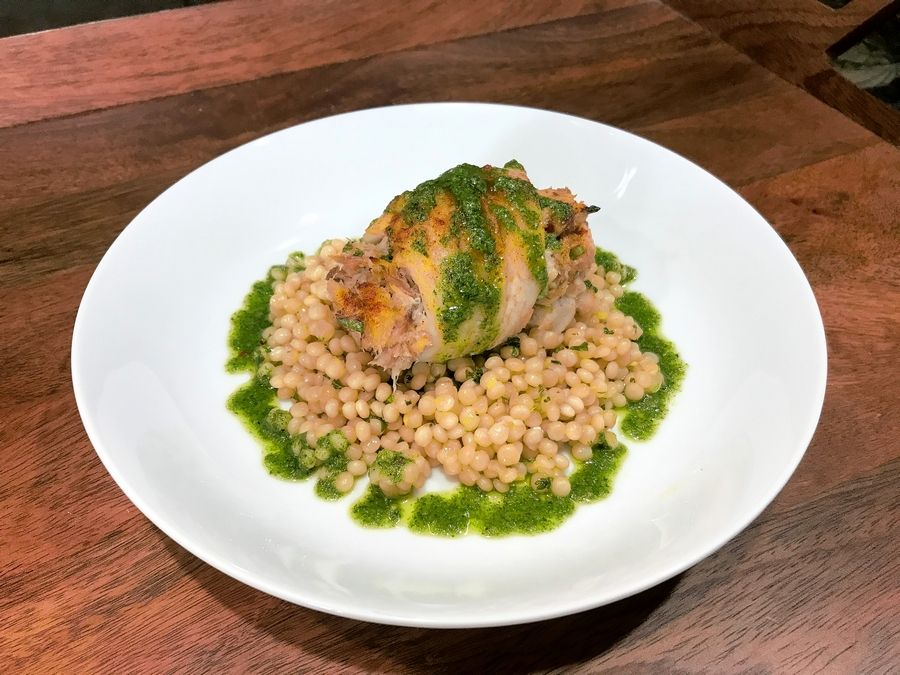 Mackerel Stuffed Filet with Couscous and Kale Gremolata.