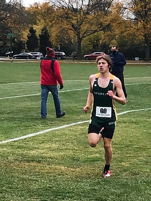 Courtesy of Bill RaceGlenbrook North senior Nick Ihrke pushed through the pain to earn all-conference honors Saturday at the Central Suburban League South division boys cross country meet in Winnetka.