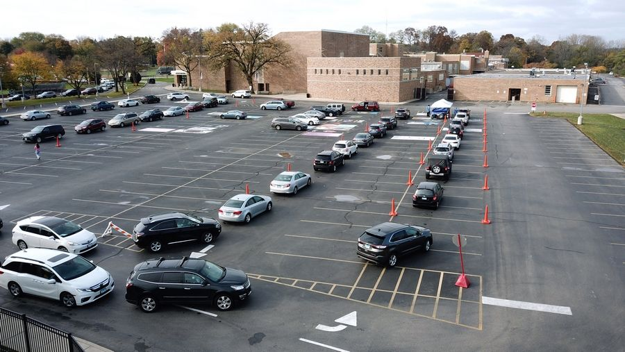 A pop-up COVID-19 testing site was set up Wednesday at the east parking lot at Libertyville High School. The school board, in an emergency meeting Tuesday, decided to delay the start of a hybrid in-person school learning model at Libertyville and Vernon Hills high schools for two weeks.