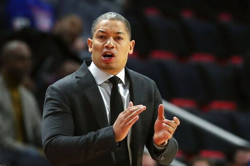 FILE - In this Thursday, Oct. 25, 2018, file photo, Cleveland Cavaliers head coach Tyronn Lue gestures during the first half of an NBA basketball game against the Detroit Pistons, in Detroit. Tyronn Lue has agreed in principle to become the next coach of the Los Angeles Clippers. Final terms were still being worked on, according to the person who spoke to The Associated Press on condition of anonymity Thursday, Oct. 15, 2020, because no contract had been signed.