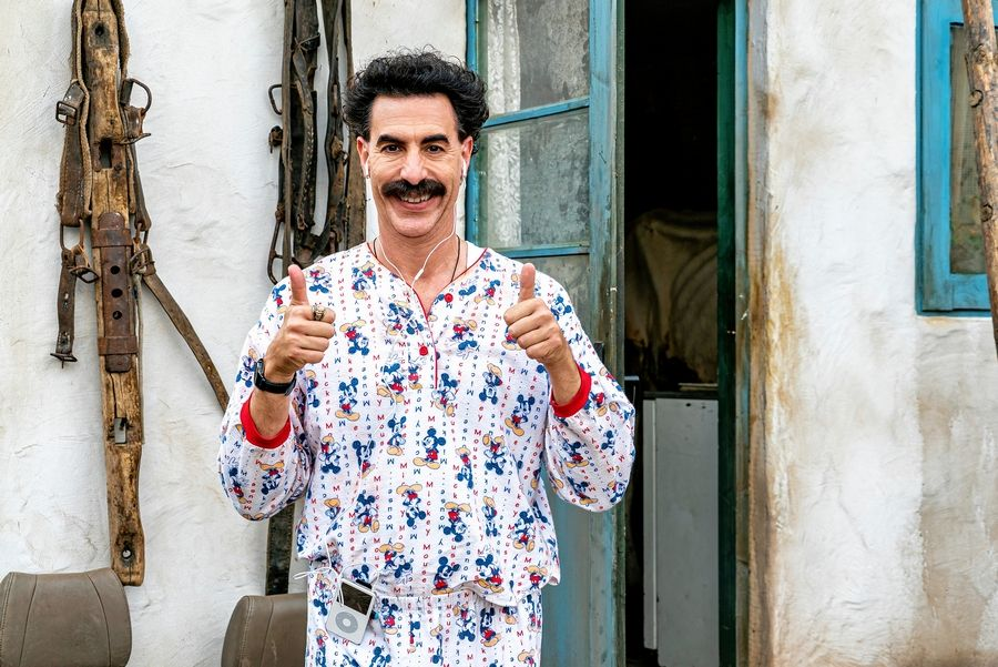 "Borat (Sacha Baron Cohen) is back in ""Borat Subsequent Moviefilm: Delivery of Prodigious Bribe to American Regime for Make Benefit Once Glorious Nation of Kazakhstan,"" streaming on Amazon Prime."