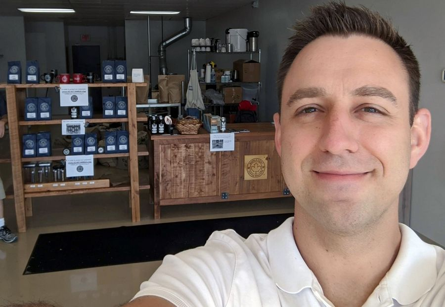 Maple Leaf Coffee Roasters in Roselle is the first of 25 local coffee roasters on Coffee Medley. (David Bacino, founder and firefighter/paramedic, taken July 25, 2020)