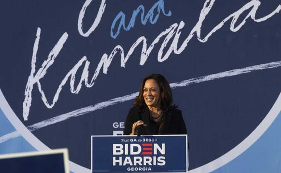 Democratic vice presidential candidate Sen. Kamala Harris, D-Calif., speaks during a campaign event at Morehouse College , Friday, Oct. 23, 2020, in Atlanta. (AP Photo/John Amis)