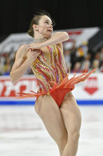 Mariah Bell, of the United States, competes during women's short program in the International Skating Union Grand Prix of Figure Skating Series, Friday, Oct. 23, 2020, in Las Vegas.