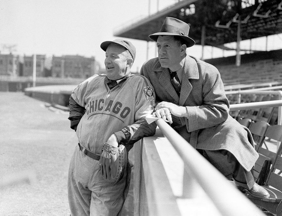 Gabby Hartnett, manager of Cubs, chats with his predecessor, Charlie Grimm, right in 1939. If the Sox do indeed hire Tony LaRussa, it wouldn't be the first time a Chicago team has tried to recapture glory by mining the managerial boneyard. In 1960, frustrated by 15 years without a pennant, the Cubs turned to the last manager to lead the club to the World Series in Grimm.