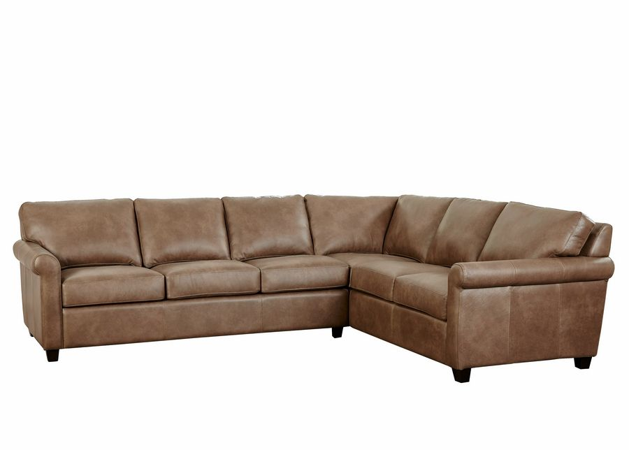 Micheal Walsh, owner of O'Reilly's Furniture and Amish Gallery, recommends designing the Downey's room around this leather Omnia 201 sectional.