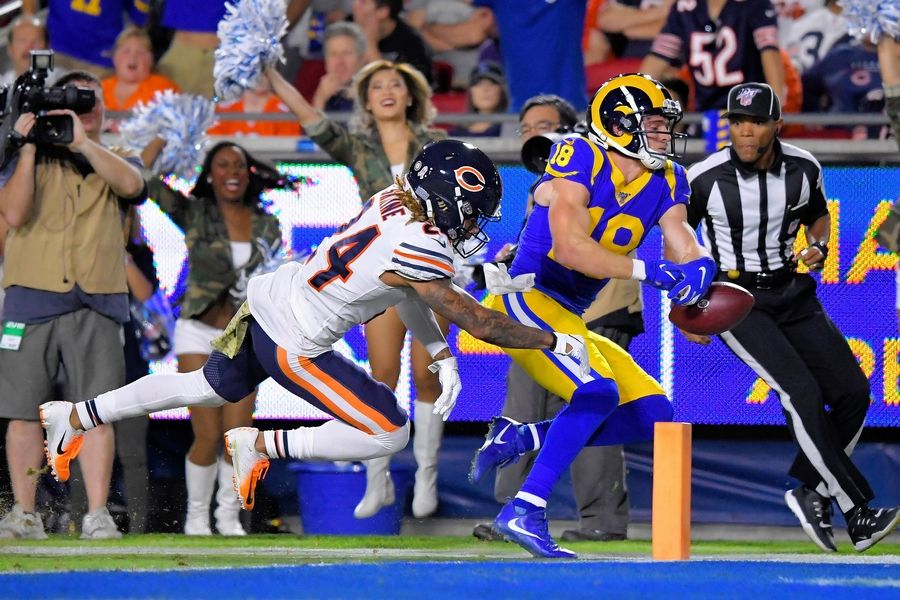Los Angeles Rams wide receiver Cooper Kupp, right, fumbles the ball just before crossing the goal line as Bears cornerback Buster Skrine tackles him during an NFL football game Sunday, Nov. 17, 2019, in Los Angeles.