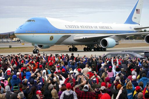 Air Force One with President Donald Trump aboard, arrives at a campaign rally at Manchester-Boston Regional Airport, Sunday, Oct. 25, 2020, in Londonderry, N.H.
