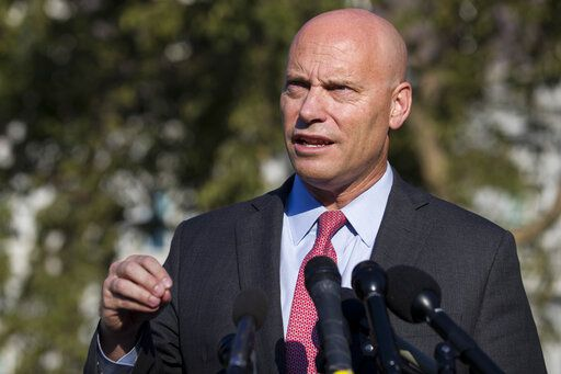 FILE - In this Monday, Sept. 16, 2019 file photo, Marc Short, chief of staff for Vice President Mike Pence, speaks with reporters at the White House in Washington. Vice President Mike Pence will maintain an aggressive campaign schedule this week the White House said Saturday, Oct. 24, 2020 despite his exposure to Marc Short, his chief of staff who tested positive for the coronavirus.