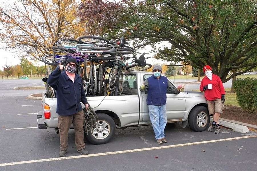 St. Elizabeth Seton bike drive volunteers in Orland Hills.