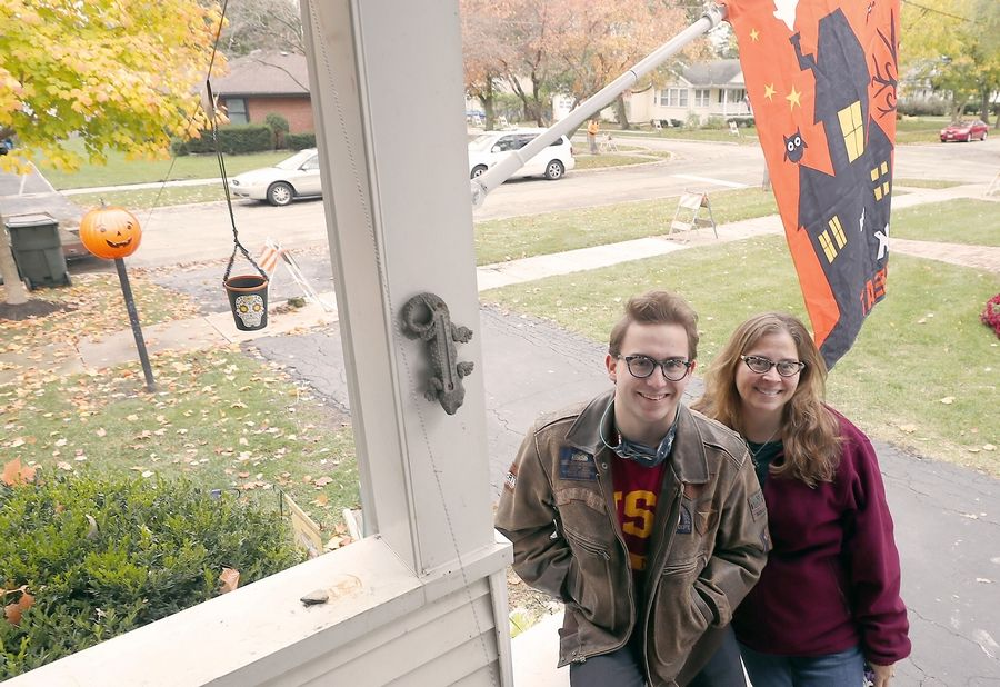 Amy Bachmann's engineering student son Gage invented a Halloween treat delivery system that allows the Palatine family to pass out candy.