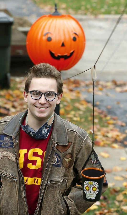 For Halloween 2020, USC engineering student Gage Bachmann, of Palatine, invented a Halloween treat delivery system.
