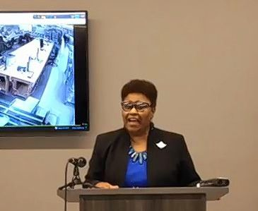 Cook County Clerk Karen Yarbrough provided an update on the rate of early and mail-in ballot returns among suburban voters during a news conference Tuesday at her office's Elections Operations Center in Cicero.