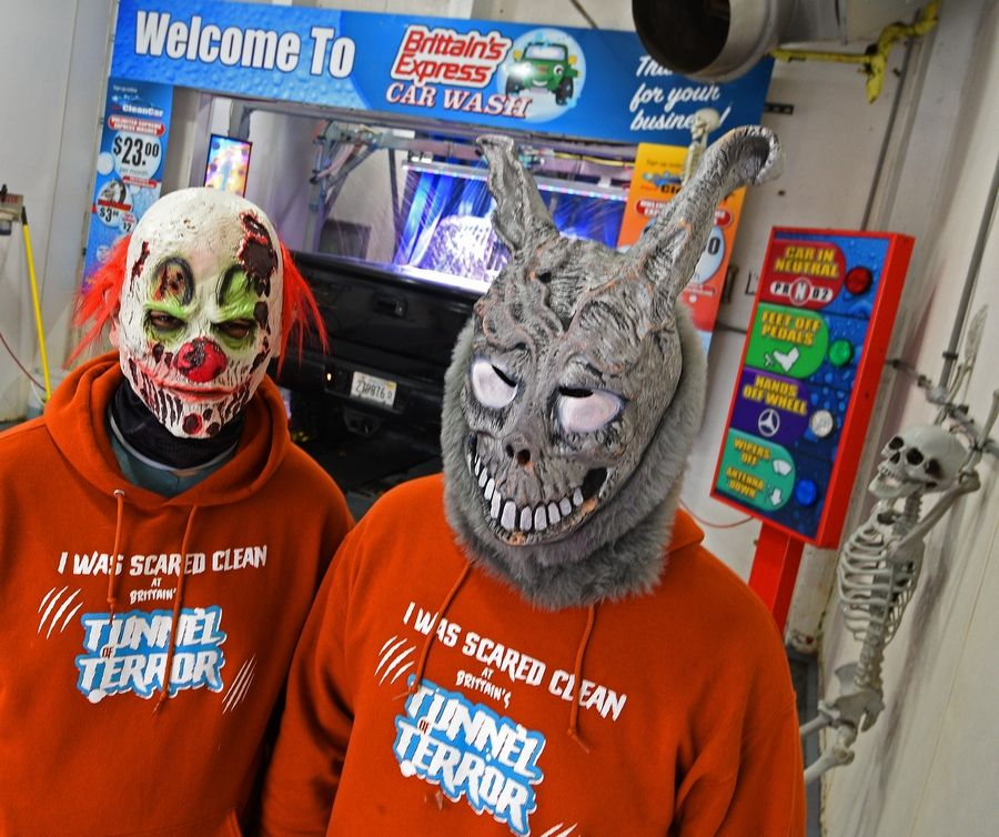 "Brittain's Car Wash employees Victor Martinez, left, and Rene Ayala will be part of the fun during the ""Tunnel of Terror"" haunted car wash fundraiser."