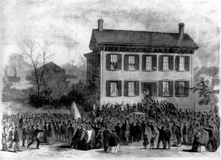 Supporters gathered at the Springfield home of Abraham Lincoln on the morning after he won the 1860 election. Lincoln and his wife, Mary Todd Lincoln, are shown in this drawing in the upper left window.
