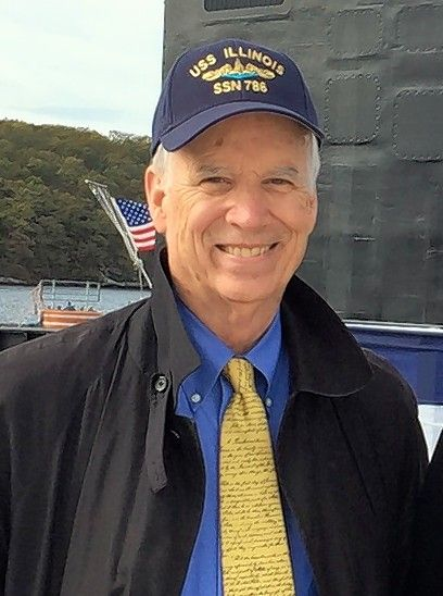 Donning his cap at the commissioning ceremony of the submarine USS Illinois, Michael Burlingame is a Lincoln scholar in Springfield, author and president of the Abraham Lincoln Association.
