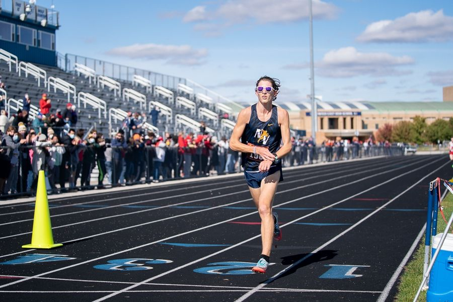 Neuqua Valley's Nicolas Dovalovsky crosses the finish line during the Class 3A Oswego East boys cross country regional last Saturday. He and the Wildcats compete at the Whitney Young sectional on Saturday in Chicago.