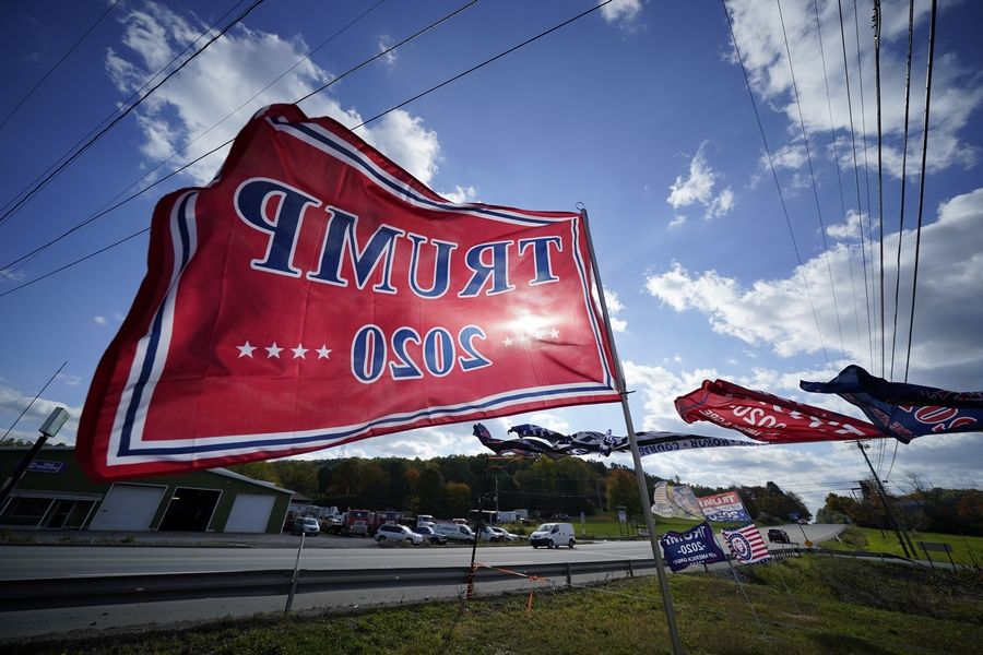 Trump campaign banners wave in the wind along Route 8 in Middlesex Township, Pennslyvania, in Butler County. To win Pennsylvania, President Donald Trump needs blowout victories and historic turnout in conservative strongholds across the state.