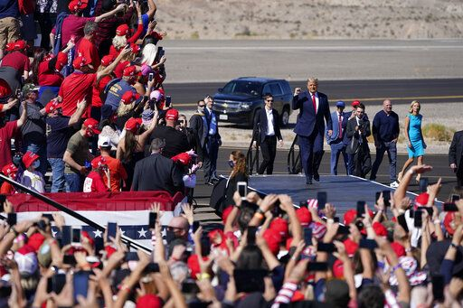 President Donald Trump arrives at a campaign rally Wednesday, Oct. 28, 2020, in Bullhead City, Ariz.