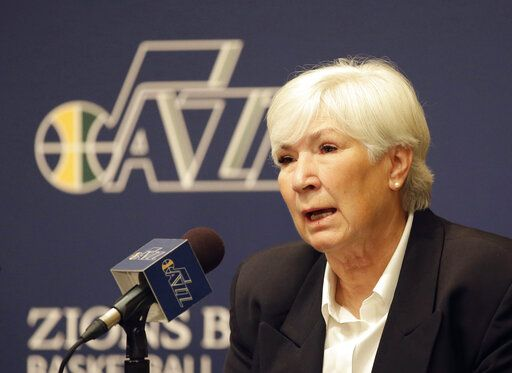 FILE - In this June 7, 2014, file photo, Utah Jazz owner Gail Miller speaks during a news conference introducing Quin Snyder as the new Utah Jazz head coach, in Salt Lake City. The majority interest of the Utah Jazz is being sold to technology entrepreneur Ryan Smith, a move that when formally approved by the NBA will end the Miller family's 35-year run as owners of the franchise. The Jazz said Wednesday, Oct. 28, 2020, that 'œdefinitive agreements'� have been struck with Smith on the sale of the team, Vivint Arena, the team's G League affiliate and management of a Triple-A baseball club. Part of those agreements call for the team to remain in Utah.